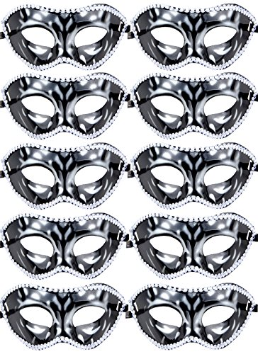 10pcs Set Mardi Gras Half Masquerades Venetian Masks Costumes Party Accessory (silver)