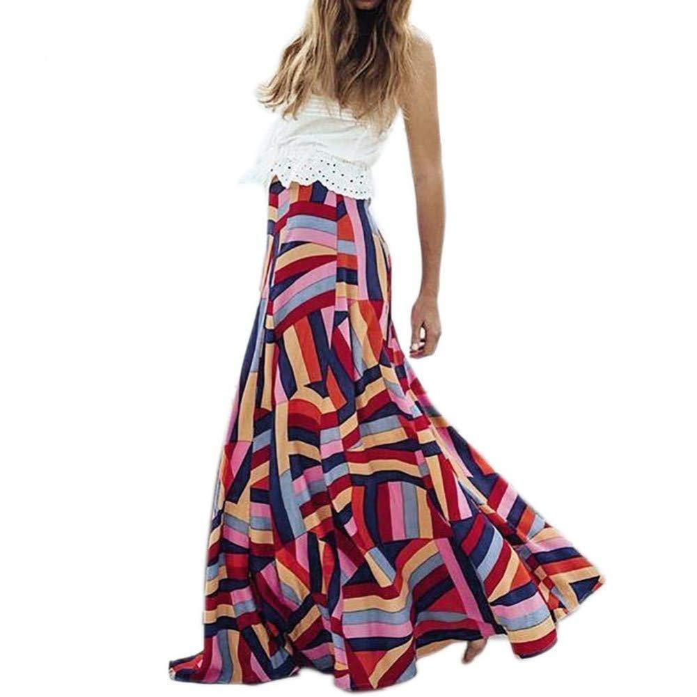MBSDDH Dress Fashion Summer Women Long Skirt Floral Vintage Skirt Floral Printed Floor Length Beach