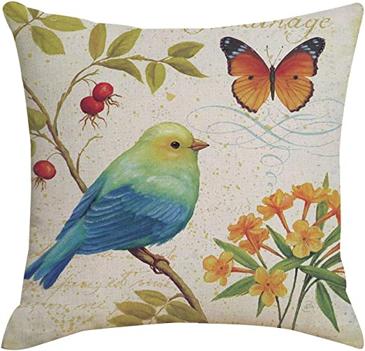 45cmX45cm Vintage BIRDS ON COFFEE CUP COTTON CUSHION COVER PILLOW CASE