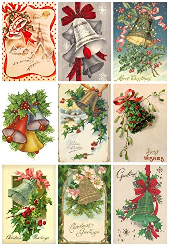 Christmas Bell Victorian - Victorian Vintage Winter Christmas Bells Card #102 Printed Collage Sheet 8.5 x 11