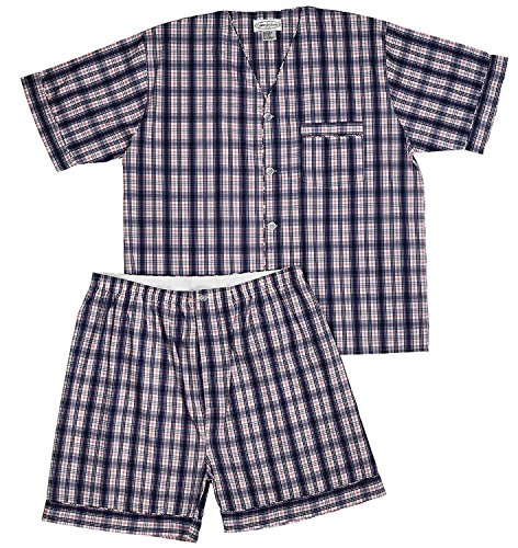 Men's Woven Pajama V-Neck Sleepwear Short Sleeve Shorts and Top Set, Sizes S/4XL -Blue & Red Plaids - Large -