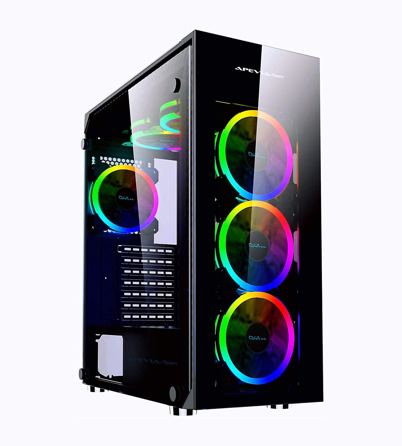 Apevia Trinity-SP Mid Tower Gaming Case with 4 x Full-Size Tempered Glass Panels, Top USB3.0/USB2.0/Audio Ports, 6 x RGB Fans
