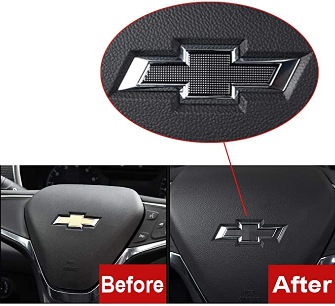 Front /& Rear GEERUI Compatible with Front /& Rear Black Bowtie Emblems,Steering Wheel Emblems for Chevrolet Equinox 2017-2020