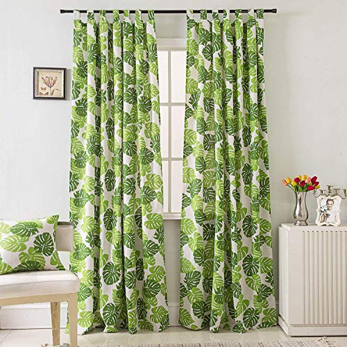 (BROSHAN Plant Curtains for Bedroom,Tropical Palm Leaf Design Window Curtain Print Room Darkening Curtain and Drapes Green Tab Top,1 Panel, 55''W x 106'' L)