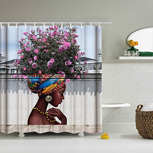 Beautiful Flower Girl Art Shower Curtain for Shower Stall by, Woman Ethnic Themed Bathroom Decor Anti Mold Water Resistant Healthy Fabric Curtains, 72 x 72 Inches (Mold Female)