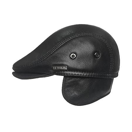 Amazon.com: LETHMIK Sombrero Plano de taxista en Piel ...