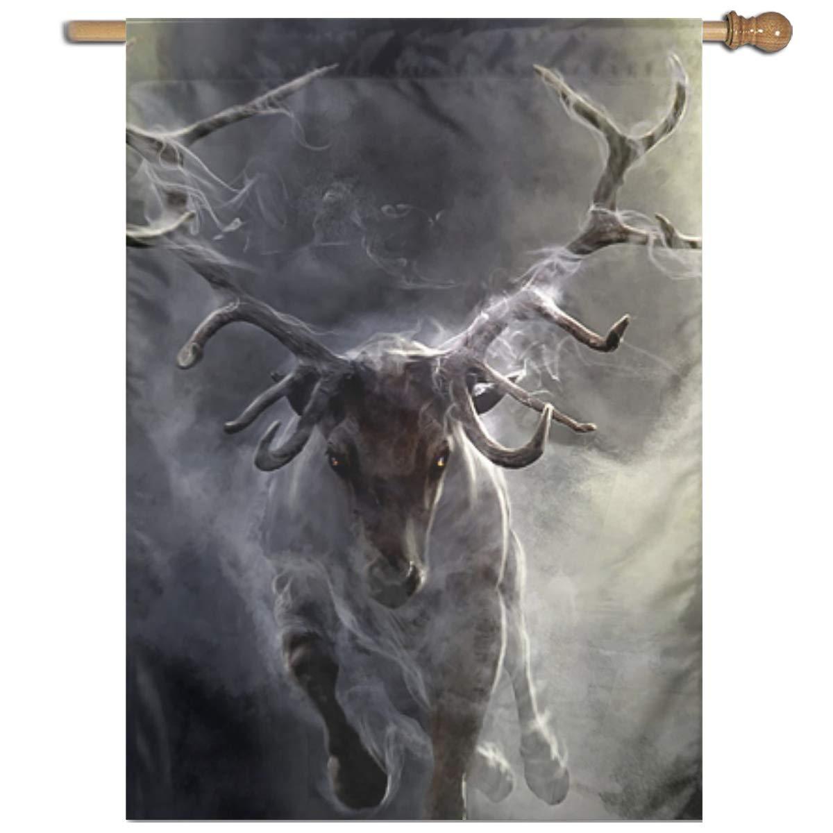 "YUANSHAN Single Print Home Garden Flag Cloud Animal Deer Polyester Indoor/Outdoor Wall Banners Decorative Flag 27""x37"""