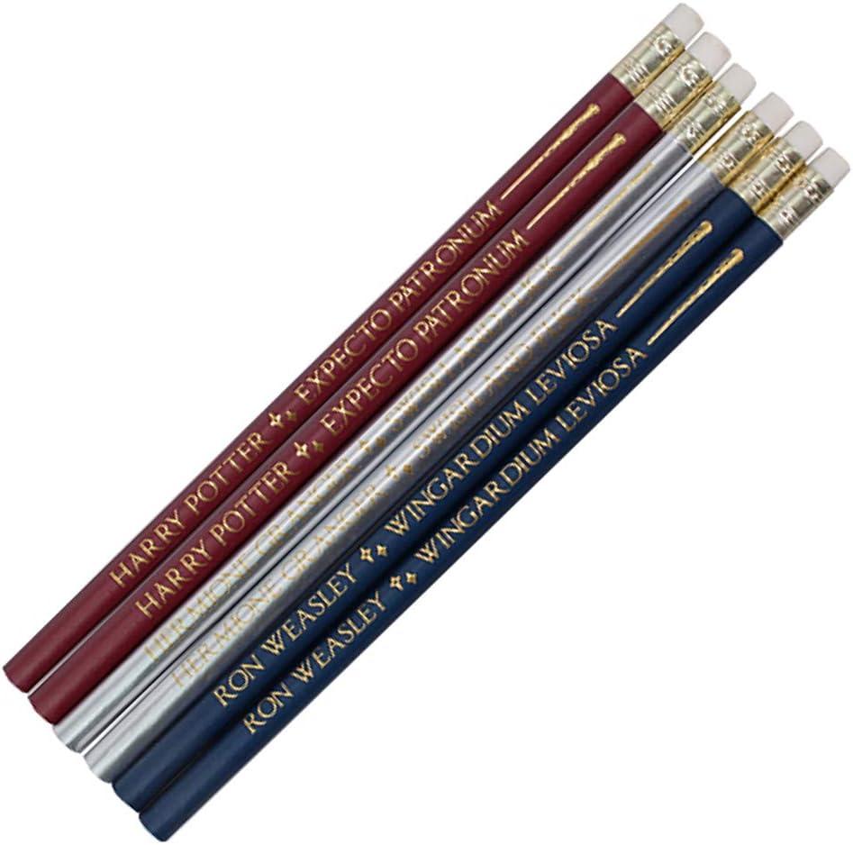 Juego de 6 lápices de madera auténticos de Harry Potter con varitas de hechizos, en caja de regalo