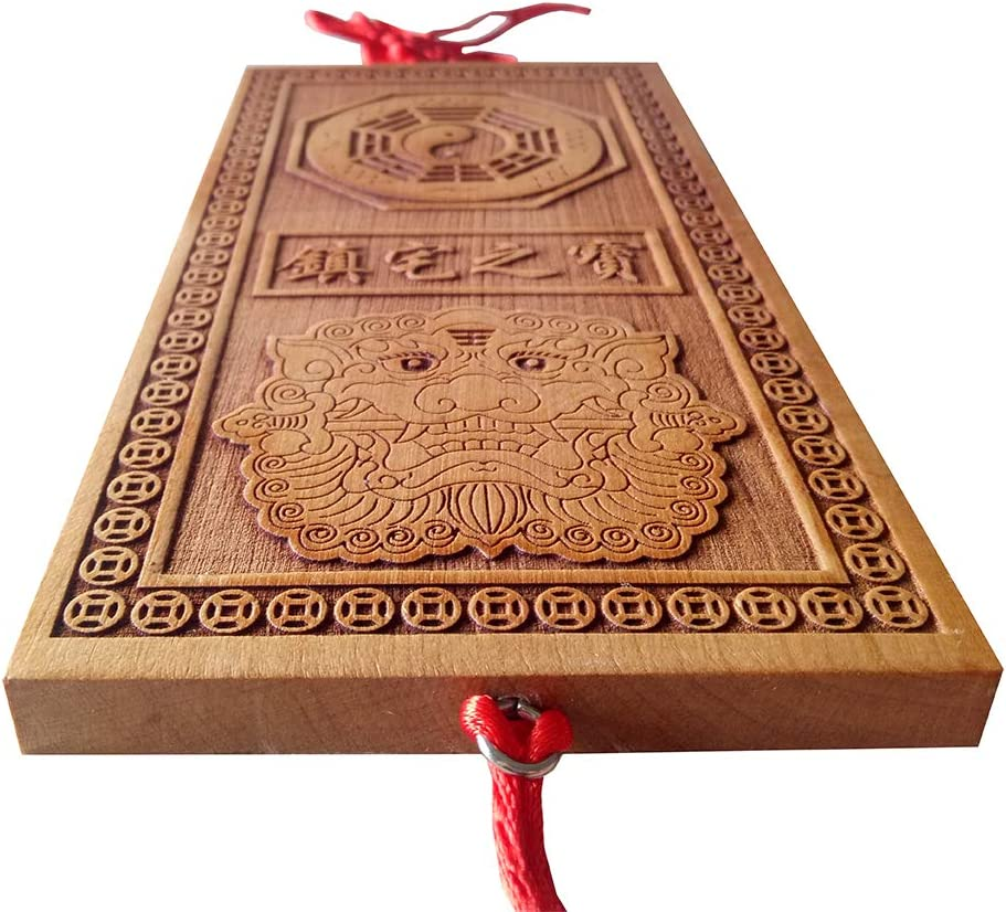 Chinese Feng Shui Peach Wood Bagua for Protection Family Absorb Blessings Feng Shui Home Decoration Attract
