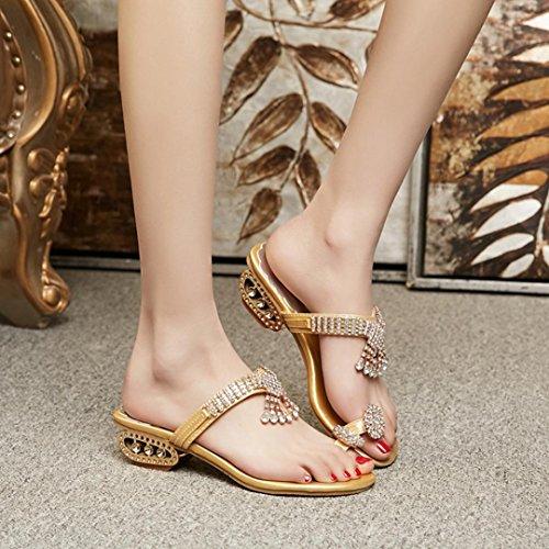 zapatos zapatos LMMVP tacón flop Mujer cristal sandalias Verano alto de flip rhinestone cuñas Chanclas Oro Mujeres moda de 7qSzw