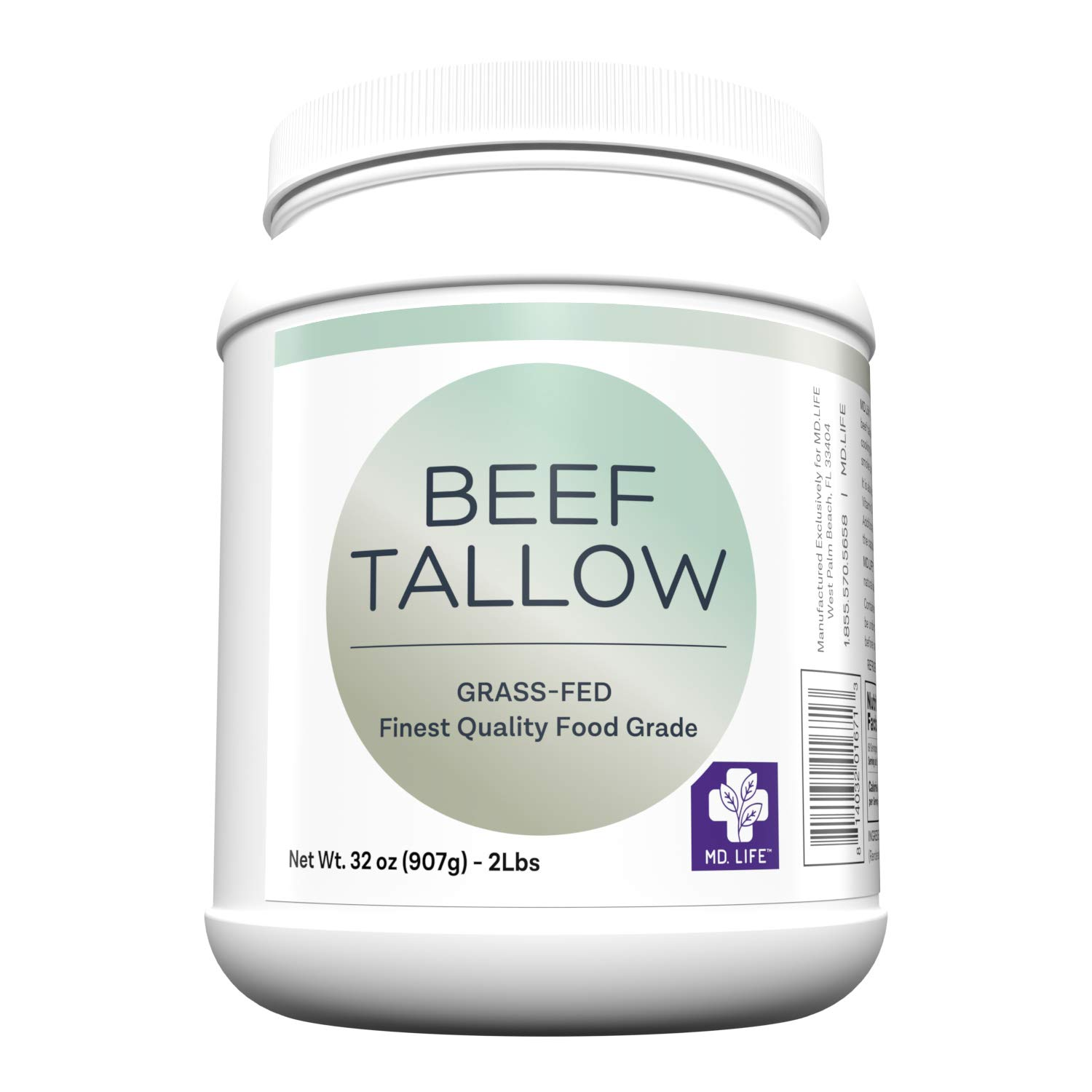 MD. Life Beef Tallow for Cooking - Food Grade Grass Fed Beef Tallow for Cooking Oil Replacement - 1 Gallon (4 Pack) - Pasture Raised Keto Friendly Beef Tallow- Can be Used to Make Candles & Soaps