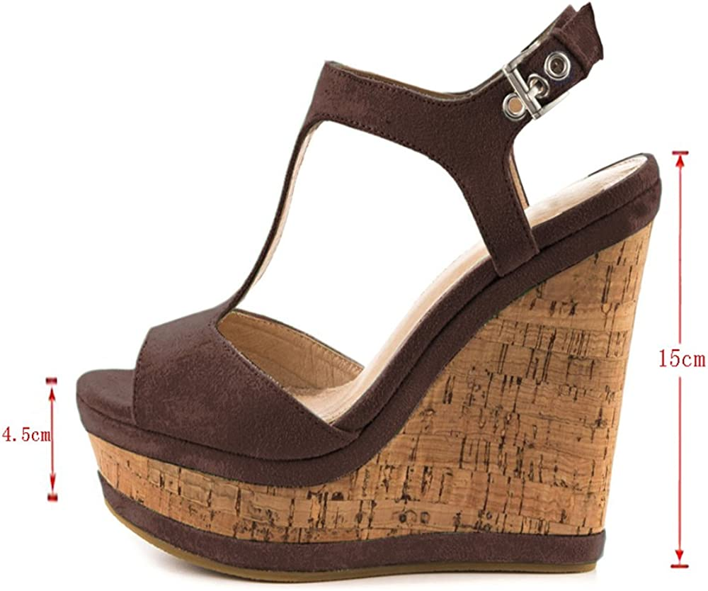JOY IN LOVE Womens Wedges Sandals High Platform Open Toe Ankle Strap Shoes