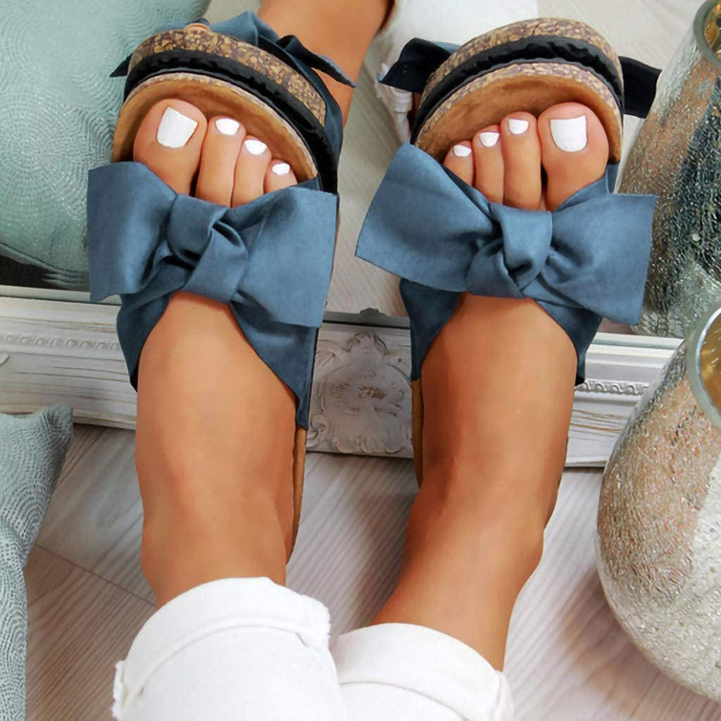 Women Rome Beach Shoes 2019 Hot! Ladies Fashion Bow Tie Flat Thick Bottom Heel Sandals Slippers