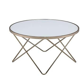 Urban Designs V Metal Frame Round Coffee Table White Frosted Glass
