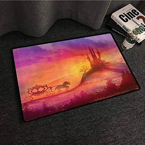 Fantasy House Decor Bedroom Doormat Fantasy Gothic Medieval Castle and Carriage with Horse Imaginary Kingdom Print Antifouling W35 xL47 Purple Orange