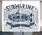 Ambesonne Nautical Decor Collection, Vintage Lettering Print Submarine Journey Under The Sea Spirit of Adventure Image, Living Room Bedroom Curtain 2 Panels Set, 108X90 inches, Navy and White