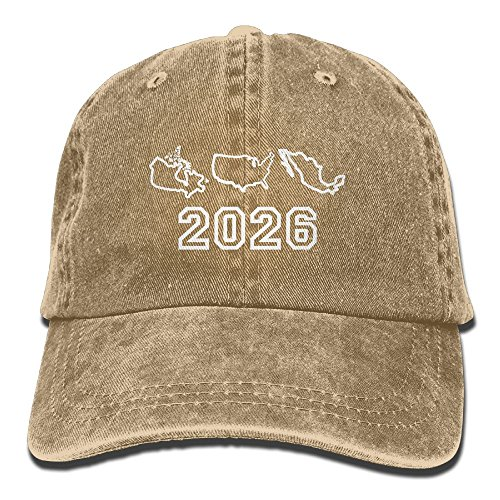 XILI-HUALA Unisex USA Canada Mexican Football World Cup 2026 Washed Denim Cotton Baseball Cap Vintage Adjustable Dad Hat Natural