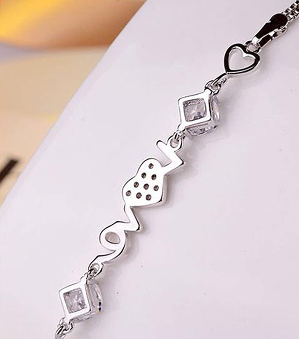 Topdo Lady Girls Elegant Charm Rhinestone Heart-Shaped Bracelet Copper Adjustable Silver Color Hand Chain Jewelry
