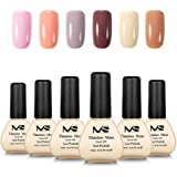 MelodySusie Durable Gel Nail Polish - Timeless Muse 1 Step Nail Gel Kit with 6 Colors, No Base and Top Coat Needed, Quick Curing with LED or UV Nail Dryer, Easy Soak Off (12ml/Pcs)