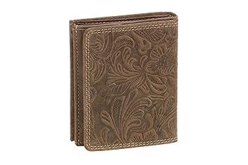 Cartera Monedero de Piel, Estilo Box para señores y señoras patrón de Flores LEAS, Piel auténtica, marrón - LEAS Vintage-Collection: Amazon.es: Equipaje