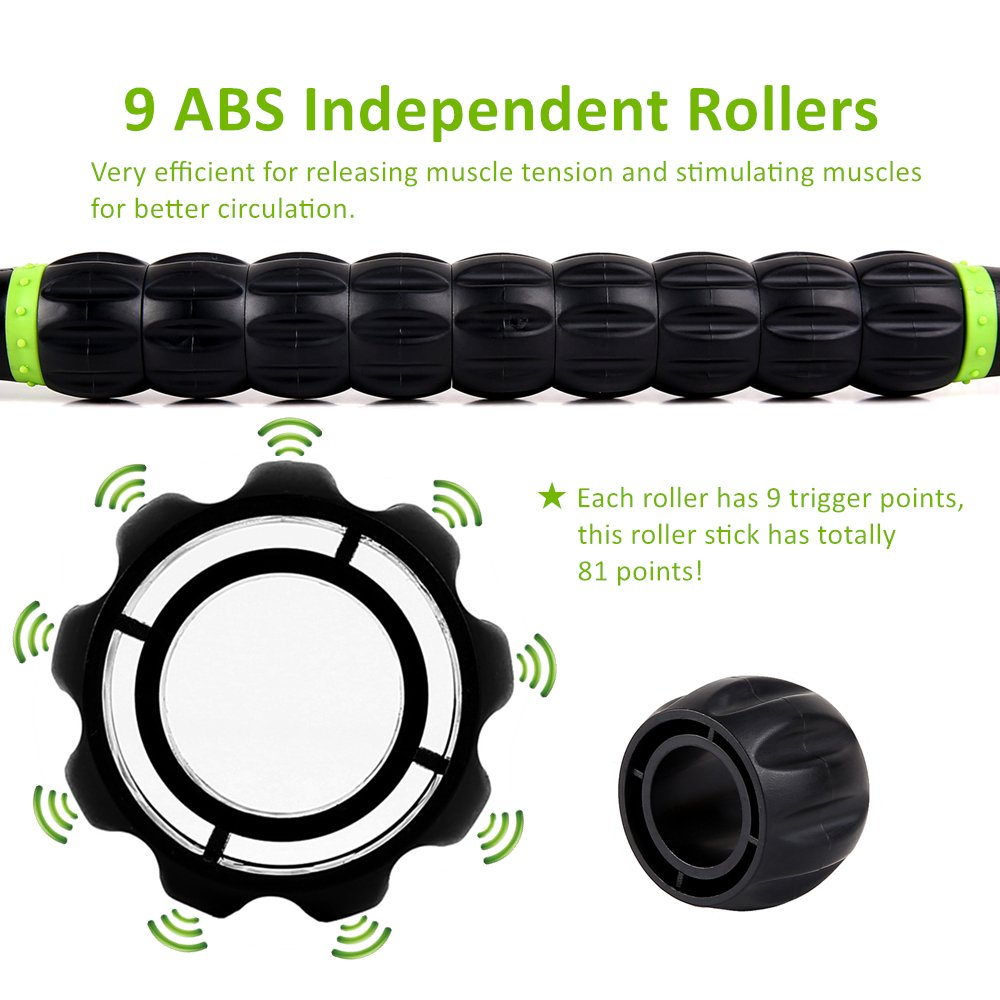 Muscle Roller Stick Sportneer Back Leg Calf Massage Sticks for Atheletes, Massager Tool for Reducing Muscle Soreness, Loosing Tightness and Soothing Cramps by Sportneer (Image #2)
