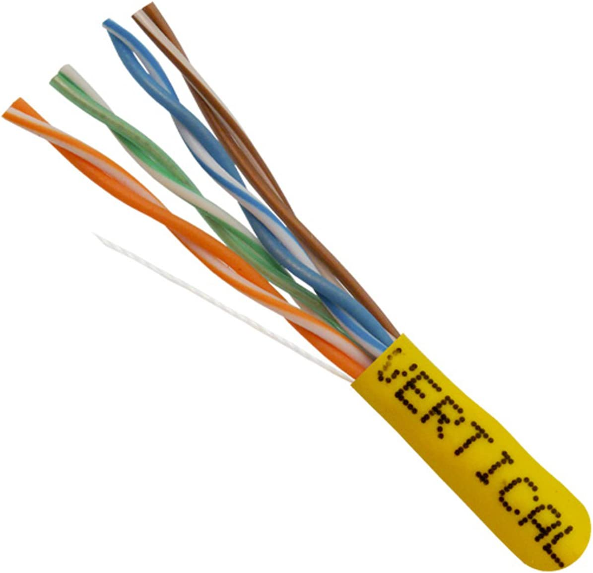 1000ft UTP 151 Series 8C Solid Bare Copper 350 MHz 24AWG Yellow Bulk Ethernet Cable Vertical Cable Cat5e