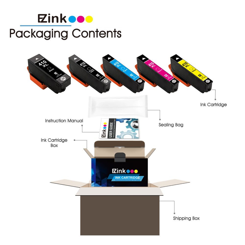 E-Z Ink (TM) Remanufactured Ink Cartridge Replacement for Epson 410XL 410 XL to use with Expression XP-530 XP-630 XP-635 XP-640 XP-830 (1 Black, 1 Cyan, 1 Magenta, 1 Yellow, 1 Photo Black) 5 Pack by E-Z Ink (Image #3)