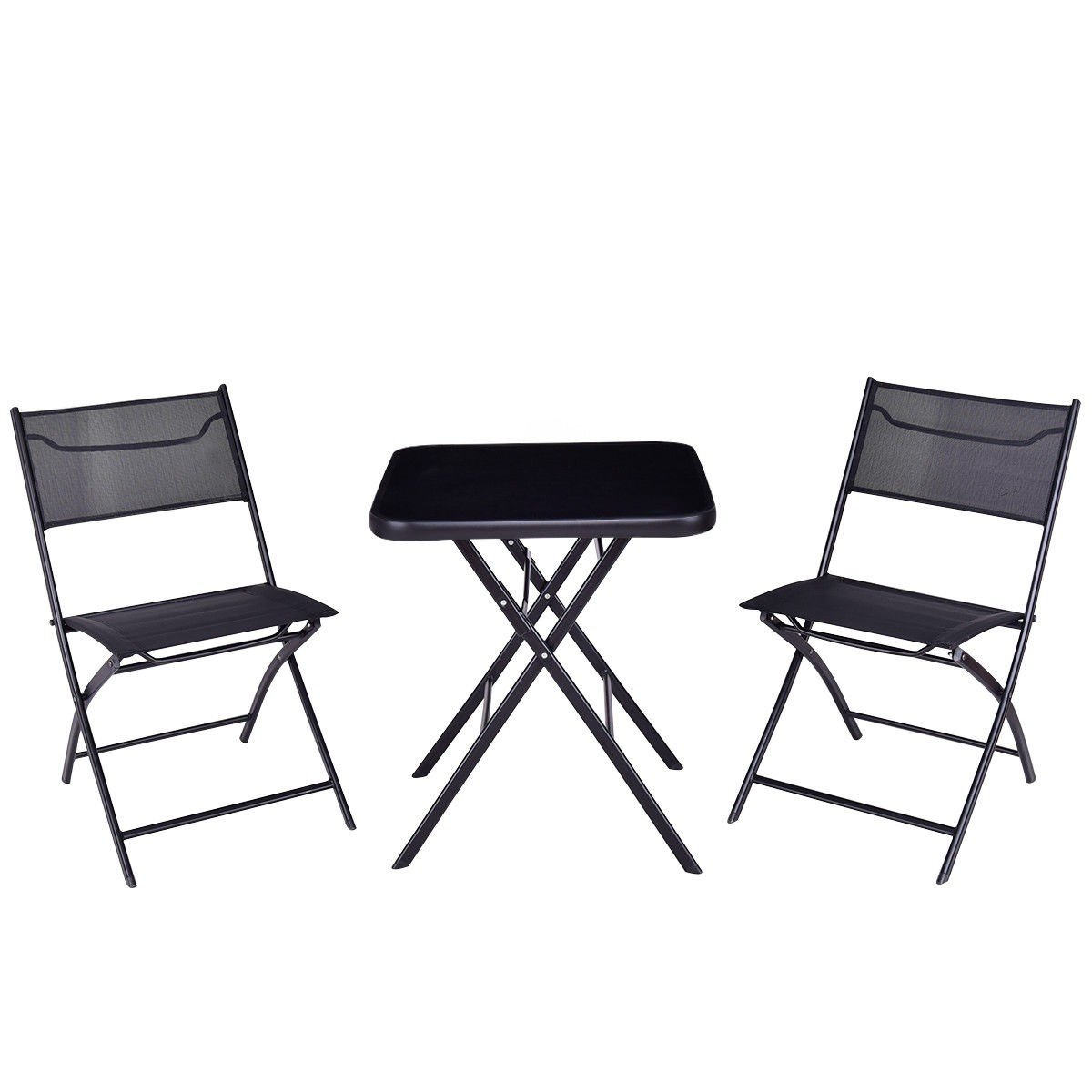 All4you Patio Bistro Table Set With Chairs Folding Outdoor Seater Coffee Table Set Black Backyard Balcony Furniture by All4you (Image #2)