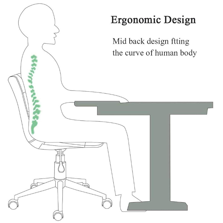LIYIN Datorstol svängbar ergonomisk uppgift stol med mellanrygg - kontorsstol justerbar sammet vadderad skrivbordsstol, sitthöjd: 42–52 cm Rosa