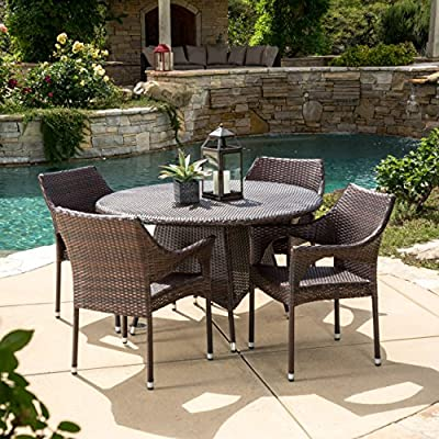 Christopher Knight Home Lorelei | 5 Piece Outdoor Wicker Dining Set | Perfect for Patio | in Multibrown - Includes: Four (4) Chairs & One (1) Table Materials: Metal & Faux Wicker Chair Dimensions: 32.28 inches high x 24.02 inches wide x 24.02 inches deep Seat Width: 18.50 inches Seat Depth: 18.25 Seat Height: 16.60 Table Dimensions: 28.50 inches high x 48.00 inches wide x 48.00 inches deep - patio-furniture, dining-sets-patio-funiture, patio - 61A3tYqhlhL. SS400  -