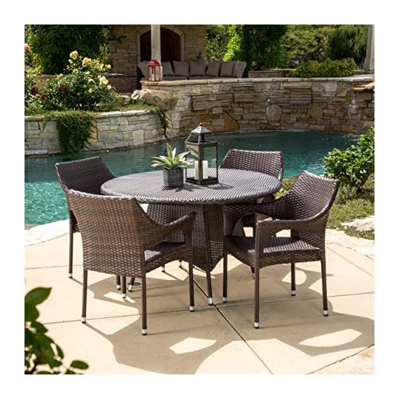 Christopher Knight Home Lorelei | 5 Piece Outdoor Wicker Dining Set | Perfect for Patio | in Multibrown - Includes: Four (4) Chairs & One (1) Table Materials: Metal & Faux Wicker Chair Dimensions: 32.28 inches high x 24.02 inches wide x 24.02 inches deep Seat Width: 18.50 inches Seat Depth: 18.25 Seat Height: 16.60 Table Dimensions: 28.50 inches high x 48.00 inches wide x 48.00 inches deep - patio-furniture, dining-sets-patio-funiture, patio - 61A3tYqhlhL. SS570  -