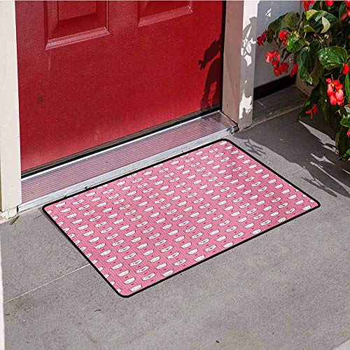 Cat Front Door mat Carpet Adorable Funny Kitten Faces Expressions Smiling Furry Cartoon Characters on Polka Dots Machine Washable Door mat W15.7 x L23.6 Inch Pink White