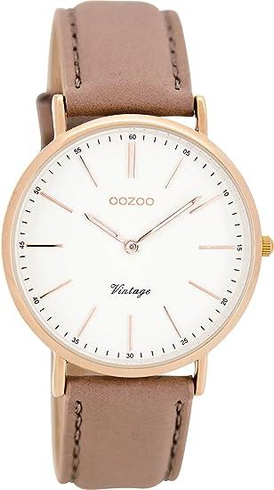 Oozoo Reloj Digital de Cuarzo para Mujer con Correa de Cuero - C8140: Amazon.es: Relojes