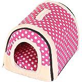 HiCollie ペットハウス 犬 猫 室内用 屋外用 ドーム型 保温防寒 2WAY 手提げ キャリー マット付き 秋冬 快適 ふわふわ 洗える ペットベッド ペット小屋 折りたたみ式 ペットソファ 暖かい 可愛い 四季適用 ピンク