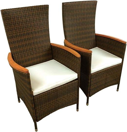 Indoba - Juego de 2 sillas de jardín (Respaldo Ajustable, Madera): Amazon.es: Jardín