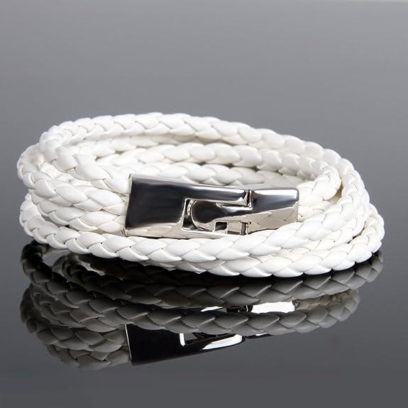 White Urban Jewelry Amazing Leather Wrap 8 Bracelet for Men and Women AC1050