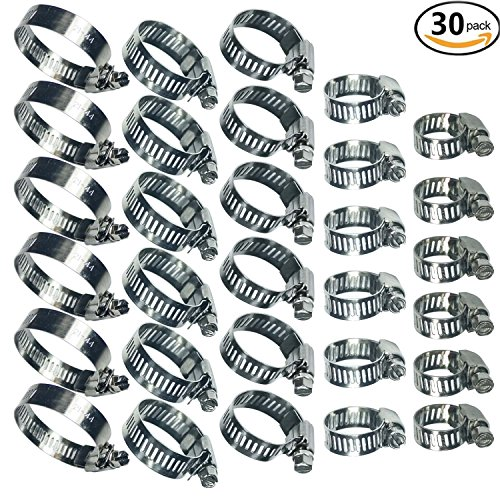 Water Pipe Clamps Stainless Steel Worm Gear Hose Clamps Assortment Kit 30 Piece by YongXuan