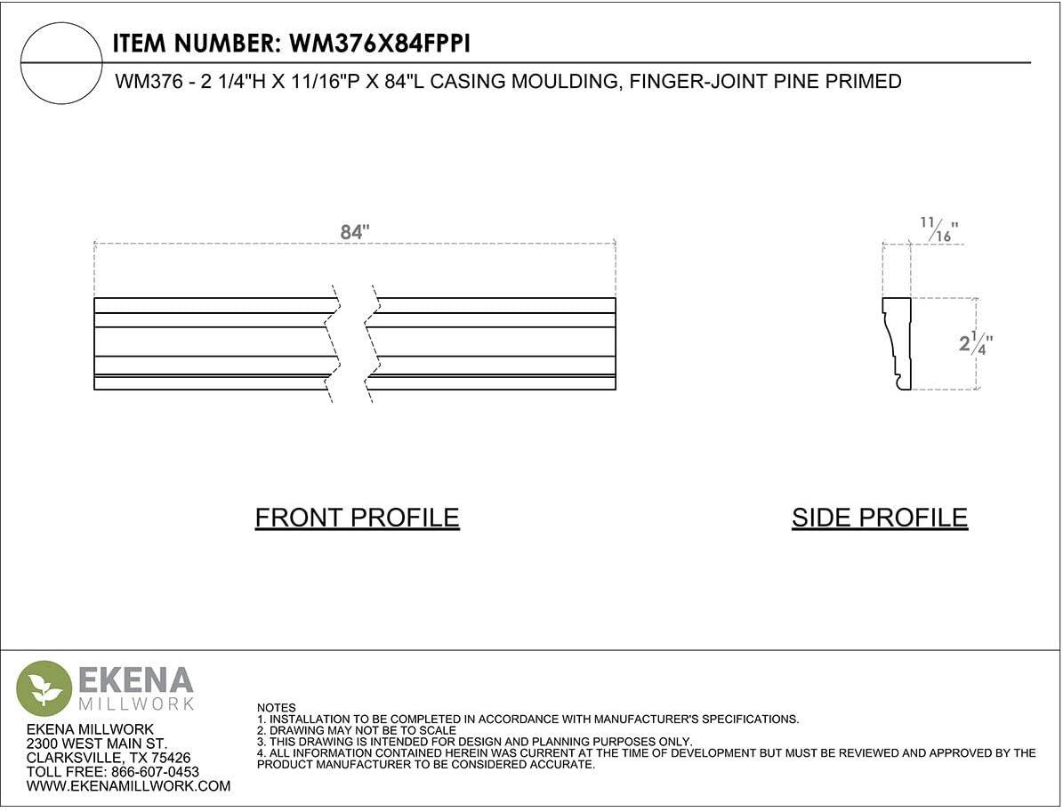 Finger-Joint Pine Primed 2 1//4H x 5//8P x 84L Ekena Millwork WM376X84FPPI Casing Moulding