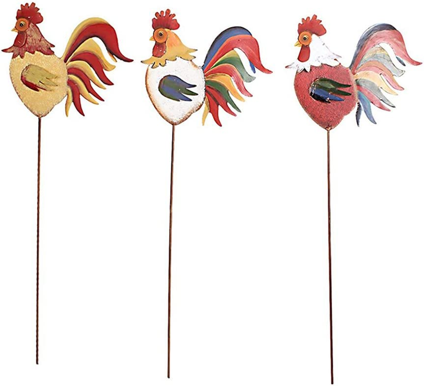 YK Decor Home Decor Garden Rooster Family Yard Stake Fall Decor Set of 3
