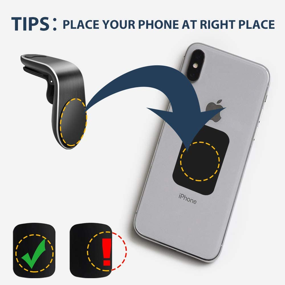 Magnetic Phone Car Mount Air Vent Phone Car Mount Universal Car Cellphone Holder Strong Magnetic Mount for Any Smartphone 2 Pack