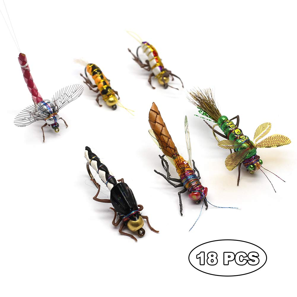 YZD Trout Fly Fishing Flies Collection Dry Wet Nymph Fly Assortment with Fly Box Flyfishing Flys Lures 12/16/18/22/36 Kits (Mayfly kit)