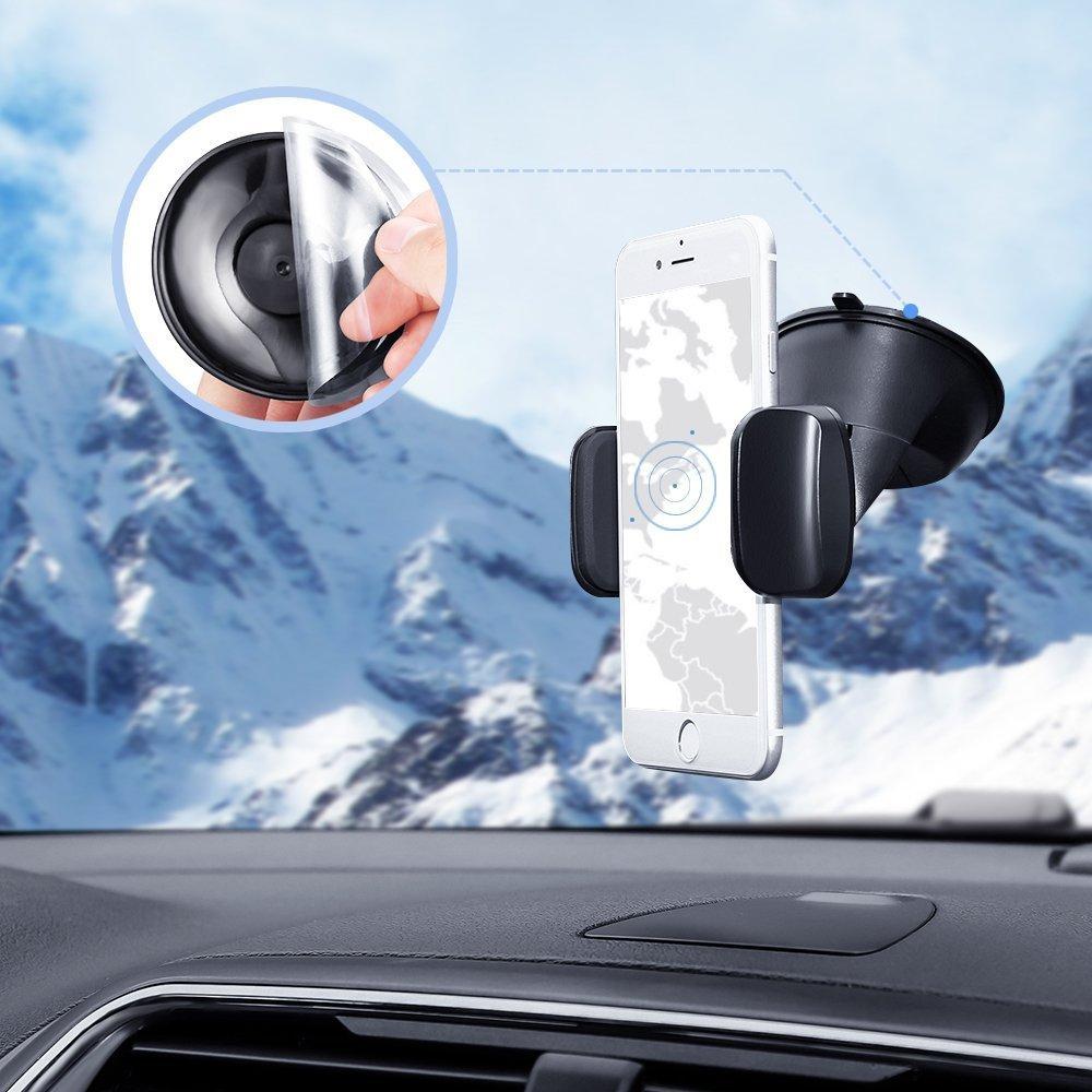Soporte Movil para Coche con Ventosa, SKYEE [2 en 1] Soporte Télefono Coche para Parabrisas/Salpicadero/Rejilla de Ventilaciónde Giro 360 Grados Universal ...