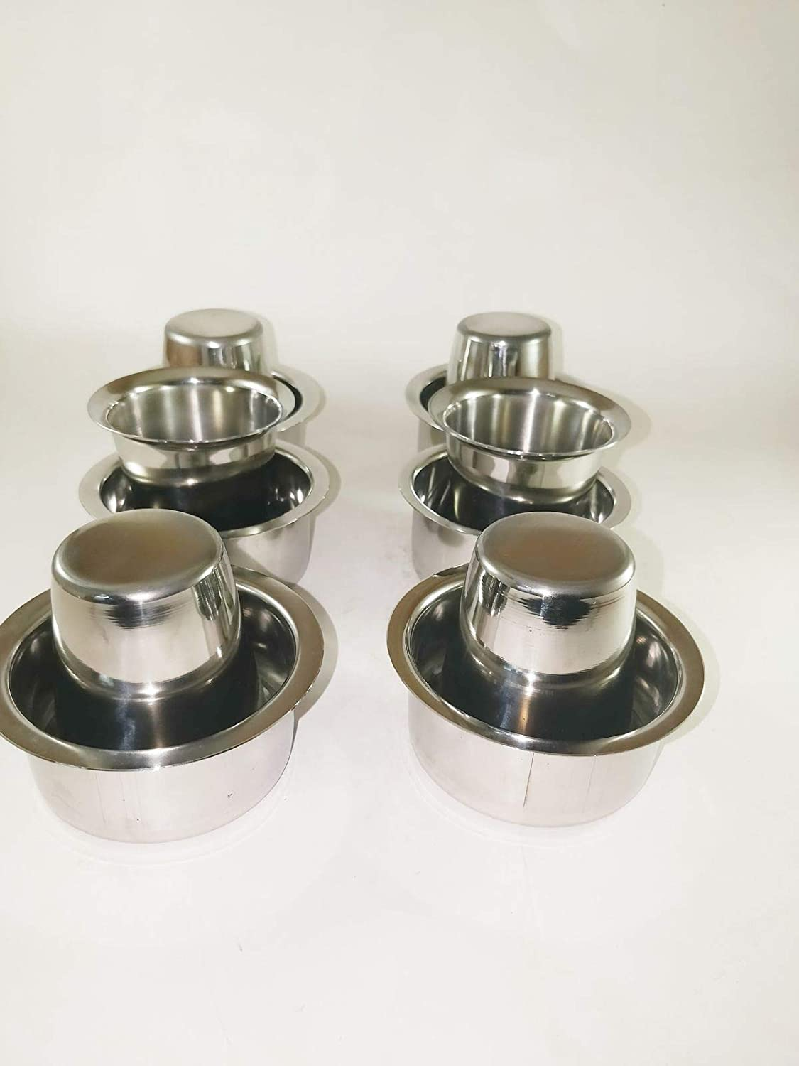 Stainless Steel South Indian style Coffee Tea Dabra with Tumbler Set of 6
