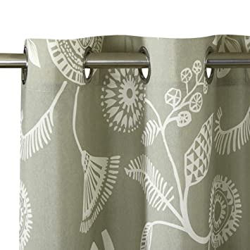 Set of 2 Panels 52 W x 63 L LoyoLady Floral Pattern Thermal Insulated Grommet Top Curtains for Bedroom