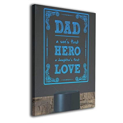 Fathers Day Quotes Dad is Son's First Hero Daughter's First Love Canvas  Prints Wall Art Best Gifts for Father Husband - Stretched and Framed Ready  to