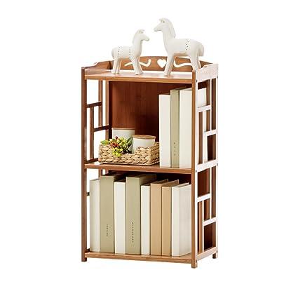 QIANGDA Floor Bookshelf Student Bookcase Childrens Bedroom Bamboo File Shelves Magazine Rack Simple Style 2