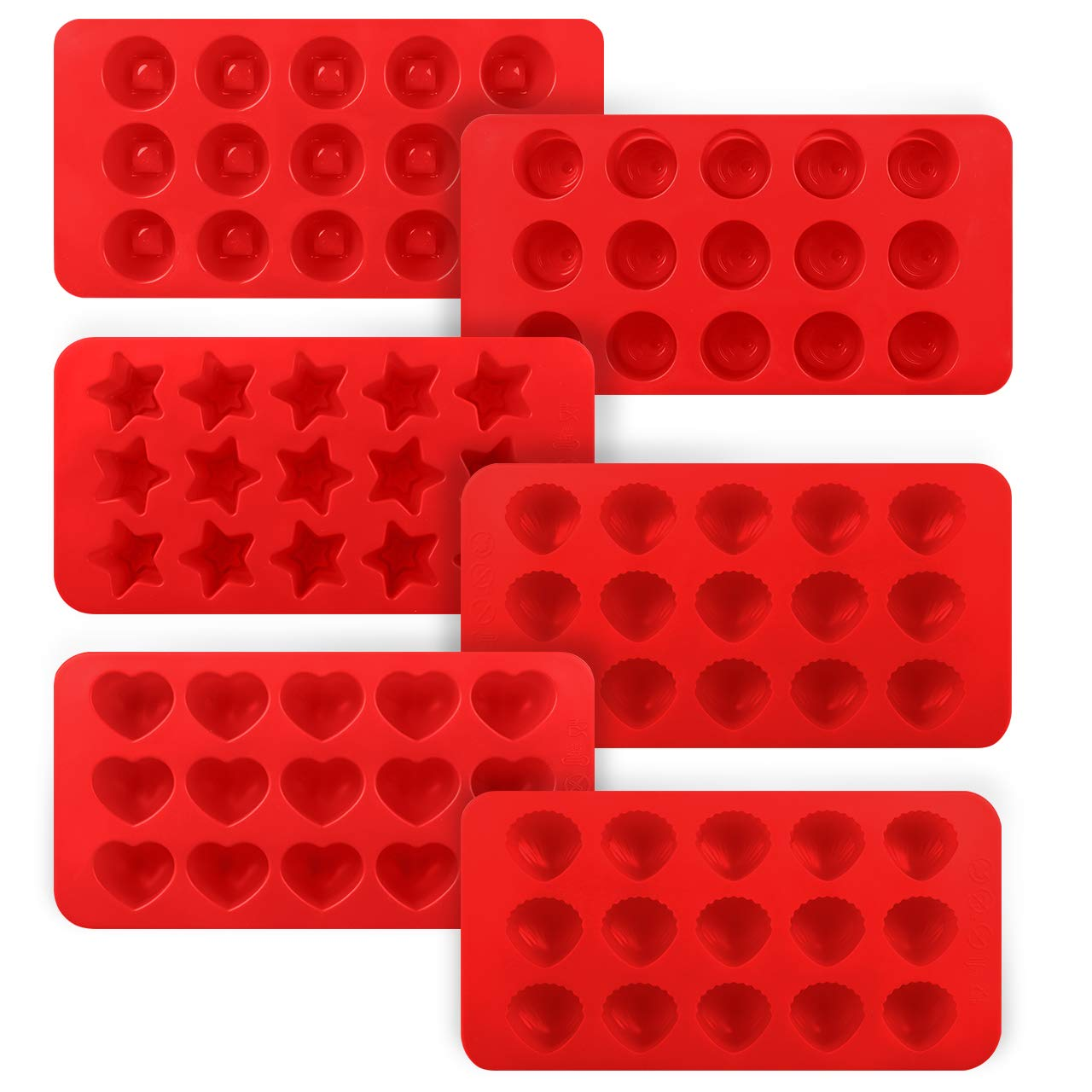 Kootek 6 Pieces Silicone Chocolate Molds, Reusable 90 Cavity Candy Mold - BPA Free Baking Supplies Tools for Making Chocolates Hard Candies Gummy Gumdrop Jelly Desserts Ice Cube Candles Soap Pudding KD339