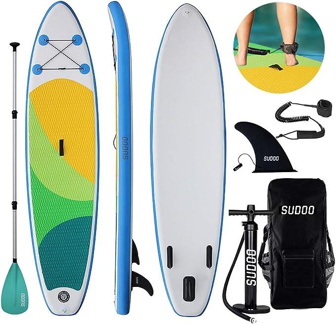Aileron Central Amovible /Ép Pagaie//Leash//Sac Triclicks Sup Stand Up Paddle Gonflable Board 300x76x15cm Kit de R/éparation Pompe Haute Pression