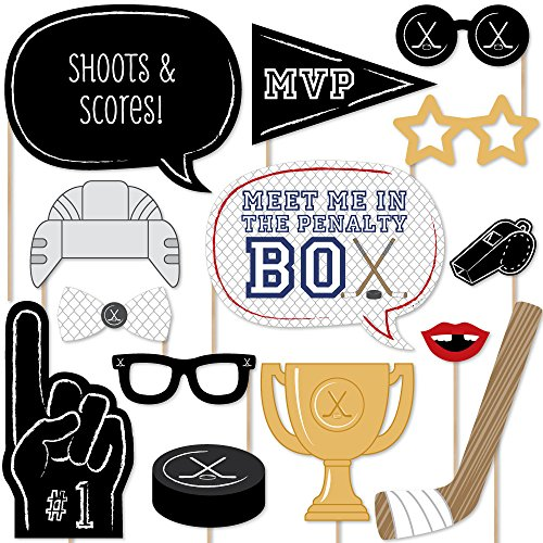 Big Dot of Happiness Shoots & Scores - Hockey Photo Booth Props Kit - 20 -