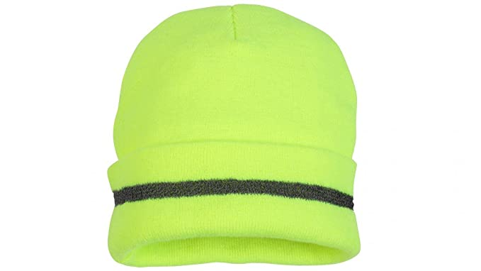 Amazon.com  Pyramex Apparel Safety Beanie Hat Cold Weather Toboggan High  Visibility HiViz Green  Sports   Outdoors 36acfb12a5e